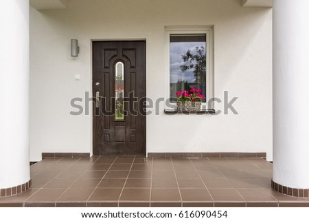 house entrance interior design. Exterior view of a porches entrance to luxrious villa House Entrance Stock Images  Royalty Free Vectors