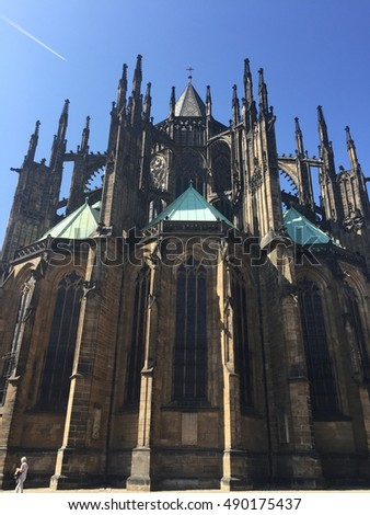 Exterior view of choir of gothic St Vitus Cathedral in Prague Castle, Czech Republic