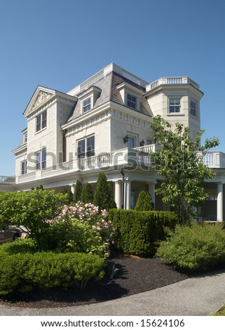 Exterior view of large luxury mansion home - stock photo