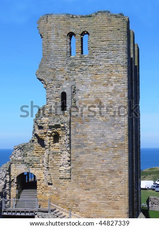 Exterior view of ruins of Scarborough castle with sea in background, North Yorkshire, England.