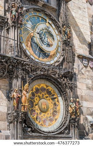 Exterior view of the astronomical clock Orloj in Prague