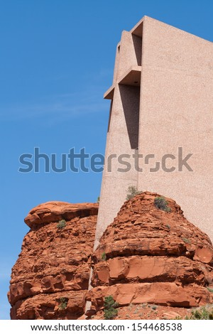 Exterior view of the Chapel of the Holy Cross in Sedona, Az. - stock photo