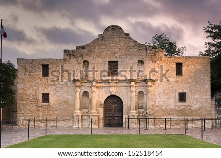 Exterior view of the historic Alamo shortly after sunrise - stock photo