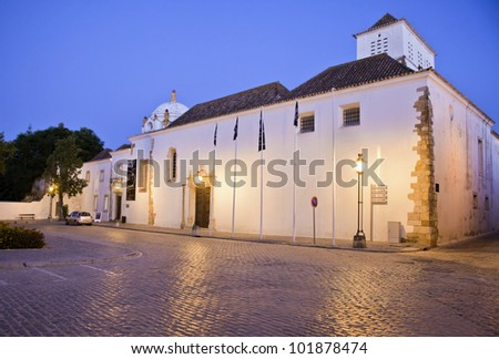 Exterior view of the Municipal museum in historical center of Faro, Portugal. - stock photo