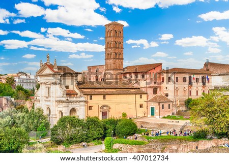 Exteriors of the Church of Santa Francesca Romana in Roman Forum, Rome, Italy
