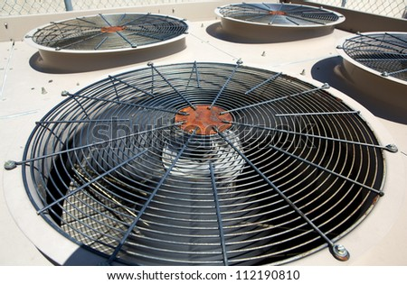 External Air Conditioner Fans for Industrial Background - stock photo