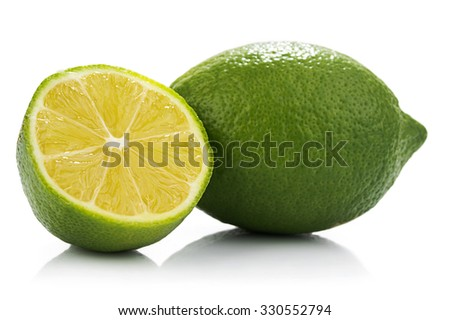 External and internal surfaces of lemon isolated on white background. - stock photo