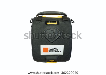 External automatic defibrillator isolated on white - stock photo