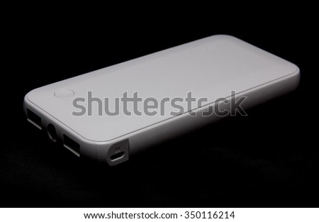 External battery pack isolated on Black background - stock photo
