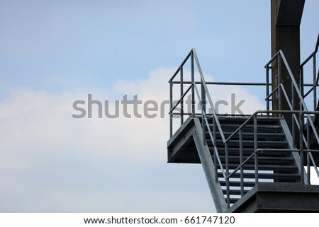 External Fire Escape Staircase / External Emergency Exit At An Industrial  Building