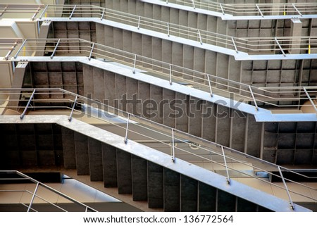external fire escapes in a modern building from Japan. - stock photo