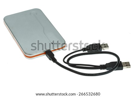 External hard disk drive isolated on white background - stock photo