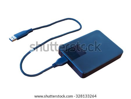External hard disk isolated on white background. - stock photo