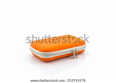 External hard drive carrying case. Bags for external hard drive on a white background. - stock photo