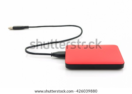 External hard drive for backup on white background. - stock photo
