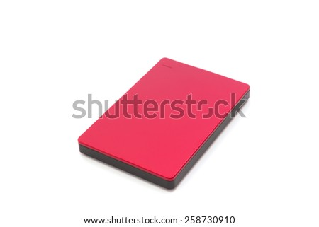 External hard drive isolated on white background - stock photo