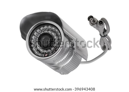 External security surveillance camera with night vision LED backlight isolated on white background - stock photo
