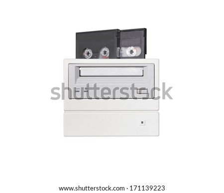 External tape drive for computer backup isolated on white