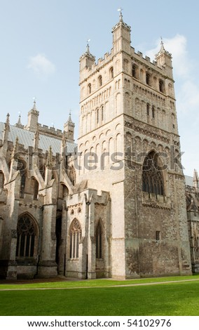 External view of Exeter cathedral - stock photo