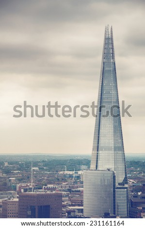 External view of the Shard in London on a cloudy day with copyspace in an architectural and travel concept - stock photo