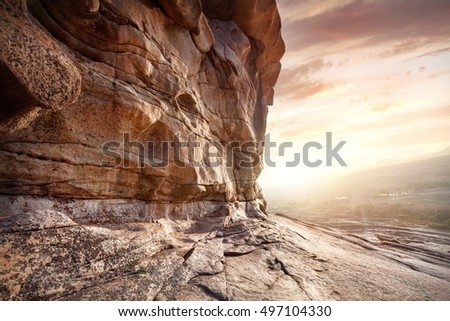 Extinct volcano Bektau Ata in the desert at beautiful sunset in Kazakhstan
