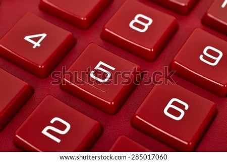 extra close up, number on red calculator - stock photo