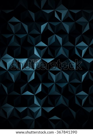 Extra Dark Cyanotype Low Poly Abstract Background