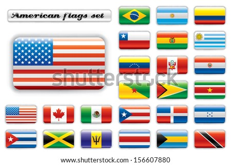 Extra glossy button flags. Big American set. 24 flags. Original size of USA flag included. JPEG version.  - stock photo
