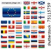 Extra glossy button flags. Big European set. 48 flags JPEG version. Original size of EU flag included. - stock photo