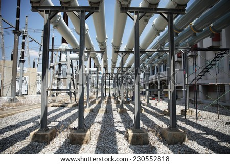 Extra high voltage electric power 500 kV Gas Insulated Switchgear. ( GIS ) - stock photo