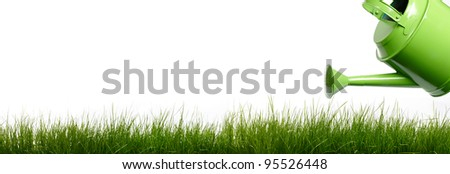 Extra large horizontal strip of grass and garden tools  on white background. - stock photo