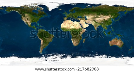 Extra large size physical world map illustration. Primary source and elements of this image furnished by NASA. This image has been created from 90 smaller images, merged in to one huge picture. - stock photo