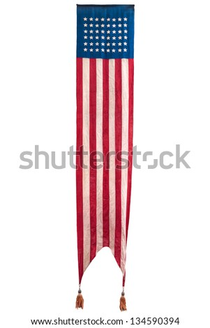 Extra long vintage official ceremony American flag isolated on a white background - stock photo
