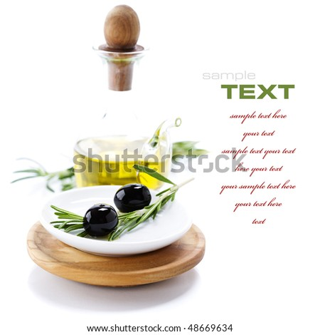 Extra-virgin olive oil and black olives branch (with sample text)