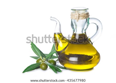 Extra virgin olive oil bottle with a rope tied around its neck isolated on white background - stock photo
