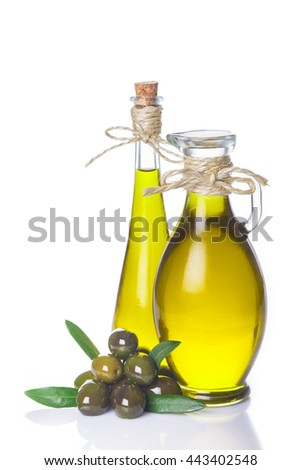 Extra virgin olive oil bottles with a rope tied around their necks isolated on white background - stock photo
