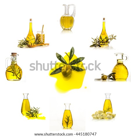 Extra virgin olive oil  collection set  isolated on white background, glass bottles and jars of  olive oil forming a clock