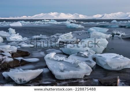 Extraordinary Arctic ice landscape - stock photo
