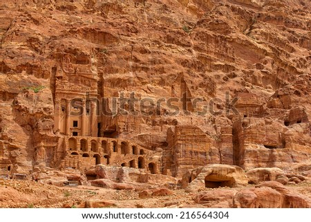 Extraordinary Royal Tombs in Petra, Jordan  - stock photo