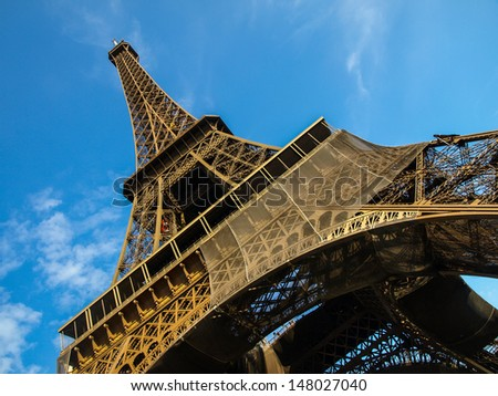 Extraordinary shot of Eiffel Tower with blue sky on the background. Paris, capital city of France, Europe