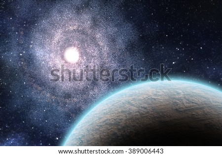 Extrasolar Planet and Large Spiral Galaxy. 3D Rendered Digital Illustration.
