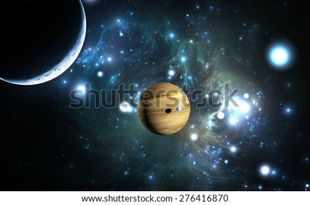Extrasolar planet. Gas giant with moons. - stock photo