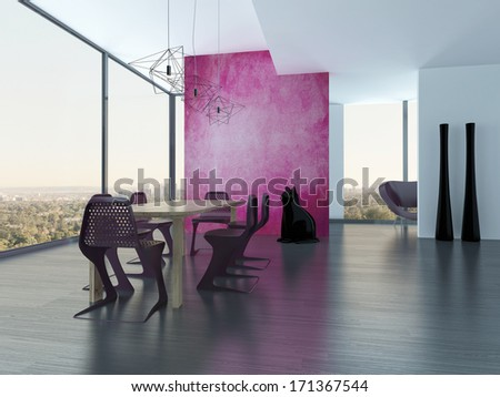 Extravagant dining room interior with pink eyecatching wall - stock photo