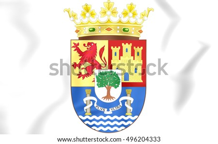 Extremadura Coat of Arms, Spain. 3D Illustration.