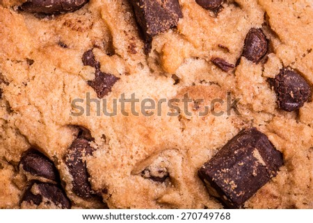 Extreme close-up chocolate chip cookie