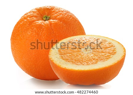 Extreme close-up image of an orange studio isolated on white background