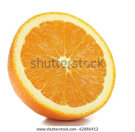 Extreme close-up image of an orange studio isolated on white background - stock photo