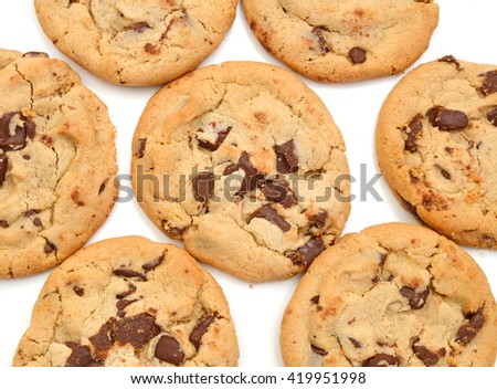 Extreme close-up image of chocolate chips cookies on background