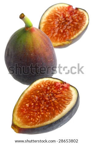Extreme close-up image of purple figs studio isolated on white background