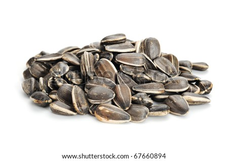 Extreme close-up image of sunflower seeds on white background - stock photo